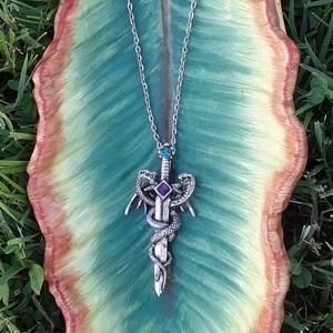 🐉 Dragon and Cobra Silver Sword Gemstone Necklace